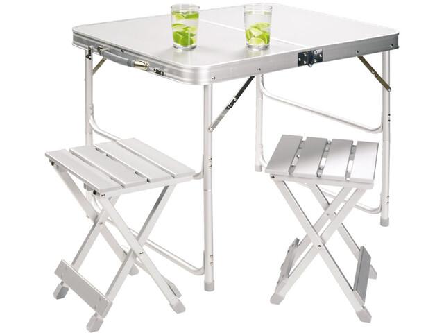 Grand Canyon Aluminiowy zestaw do siedzenia Stół z krzesłami Zestaw dla dwóch osób, silver